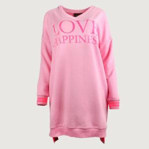 Miss-Goodlife-Damen-Long-Sweater-MG6435-Love-Happiness-in-Rosa-S-L-NEU-114740959702