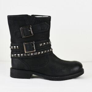 LAZAMANI-Damem-Stiefel-mit-Reiverschluss-Nieten-Schwarz-Leder-Gr-37-Neu-113949120603