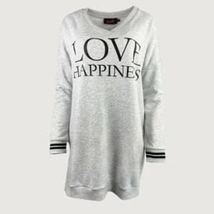 Miss-Goodlife-Damen-Long-Sweater-MG6435-Love-Happiness-in-Grau-S-L-NEU-114816190666